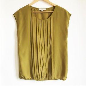 LOFT Green / Gold Sleeveless Shell Top